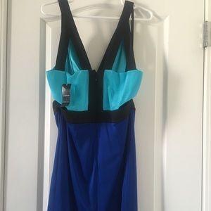 bebe Dresses - Bebe Deep V Cutout Colorblock Dress